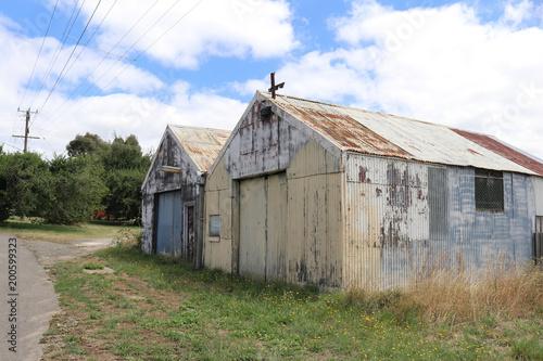 old rusty corrugated iron sheds in rural Australia - Buy