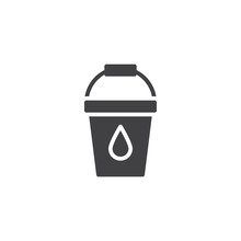 Bucket With Water Drop Vector Icon. Filled Flat Sign For Mobile Concept And Web Design. Pail Solid Icon. Symbol, Logo Illustration. Pixel Perfect Vector Graphics