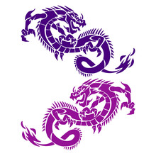 Two Dragons Blue And Violet, Silhouette On White Background,