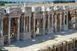 Ancient amphitheater in Pamukkale, the ancient city of Hierapolis, Turkey.