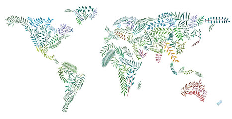 Fototapeta2d hand drawn illustration of world map. Earth continents from watercolor leaves and branches. Colorful continents isolated on white background. Ecology and enviroment concept image.