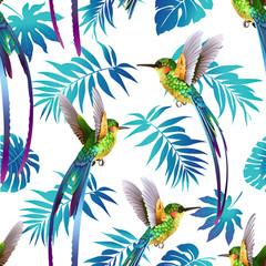 Naklejka Na szybę Hummingbird and Tropical Flowers Background. Seamless pattern vector.