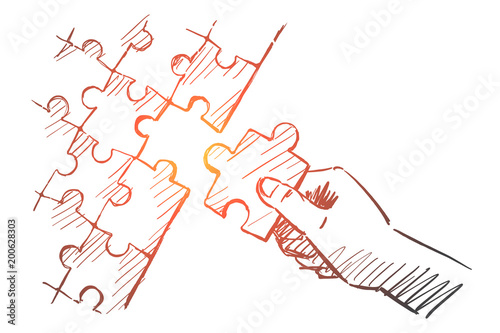 Fotografie, Tablou  Hand drawn human arm completing puzzle