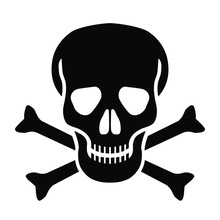 Skull And Bones Graphic Icon. Skull And Bones Sign Isolated On White Background. Mortal Danger Symbol. Vector Illustration