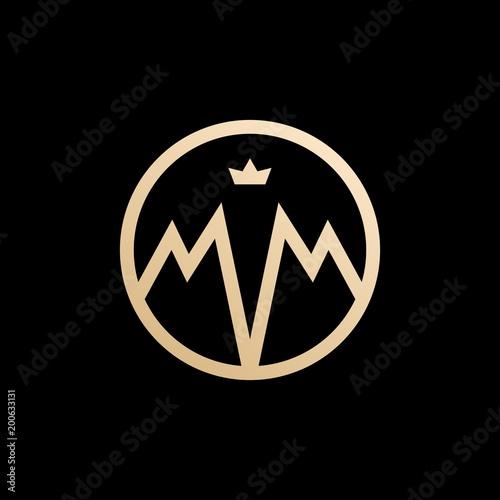 Fotografia  MM lettermark monogram circle round logo vector
