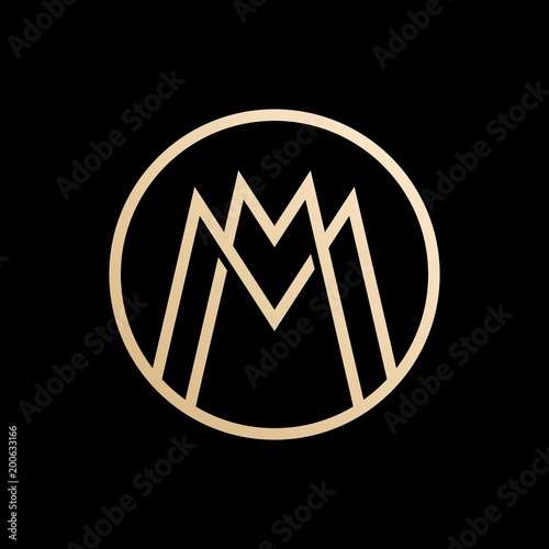Poster  MM lettermark monogram circle round logo vector
