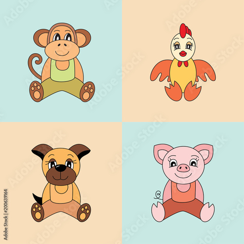 Pig Monkey Rooster Dog Vector Symbols Of The Chinese Horoscope