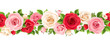 Vector horizontal seamless garland with red, pink and white roses and green leaves.