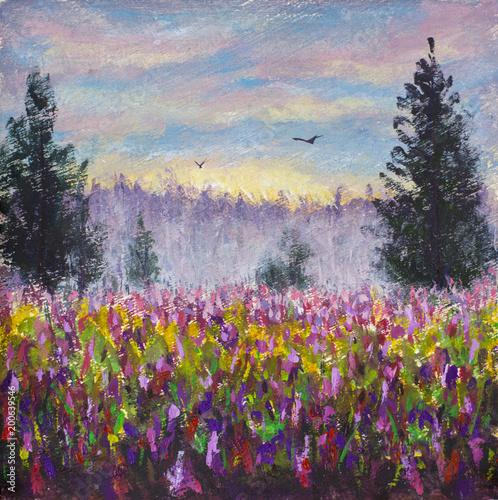 Flower Glade Field Of Purple Flowers Landscape Sunrise Foggy