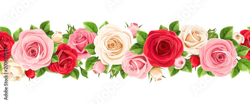 Fototapeta Vector horizontal seamless garland with red, pink and white roses and green leaves. obraz