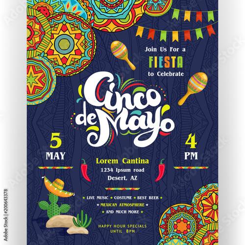 Fotografía  Cinco De Mayo announcing poster template