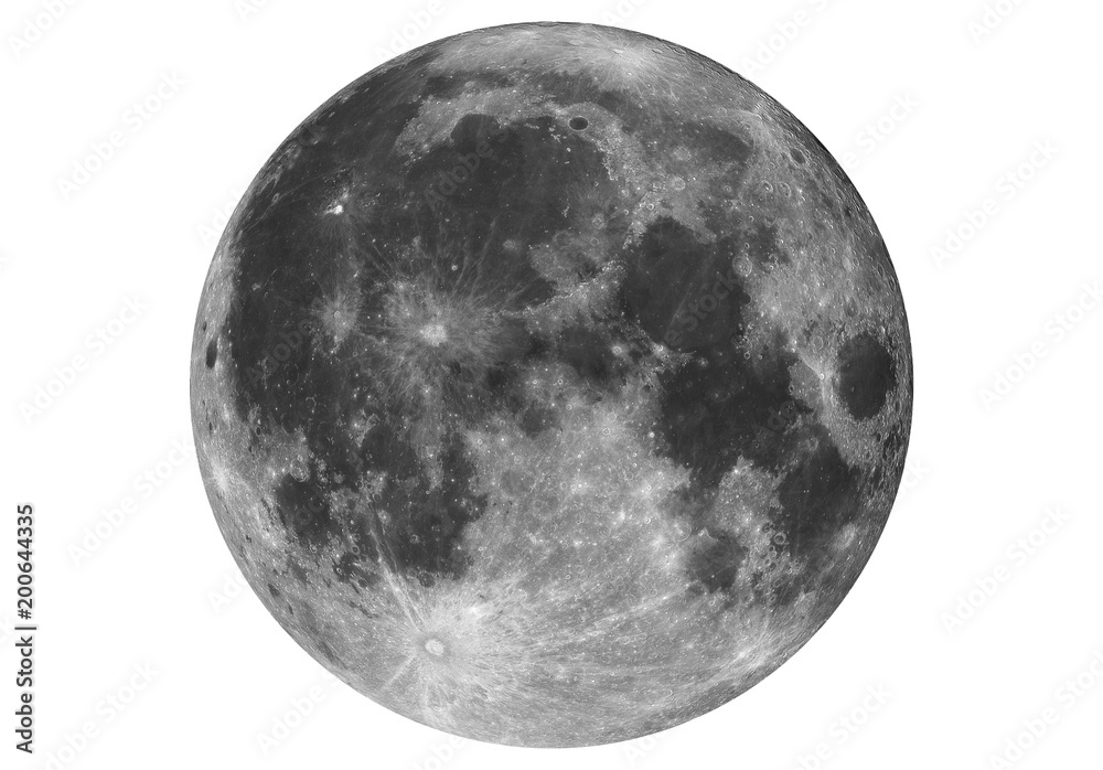 Fototapety, obrazy: Isolated big Super Moon taken with large newtonian telescope in white background.