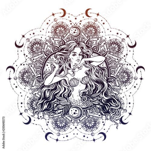 Mermaid girl with mandala frame moon. Poster Mural XXL
