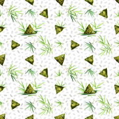 FototapetaSeamless pattern with bamboo leaves, rice grain and rice dumplings, vector background with seamless texture for print design.
