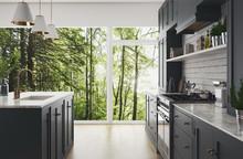 Cucina Moderna Realistica Nel Bosco, Design Minimal In Legno E Marmo, Render 3d