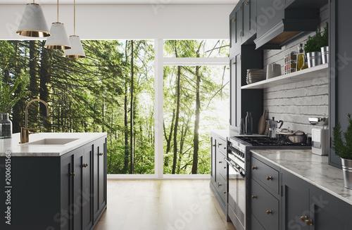 Cucina moderna realistica nel bosco, design minimal in legno e marmo ...