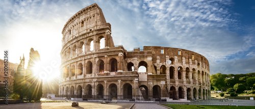 Foto op Aluminium Rome Colosseum in Rome and morning sun, Italy