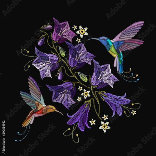 Foto op Canvas Draw Beautiful violet cornflowers and humming birds, classical art embroidery. Fashionable template for design of clothes. Embroidery violet flowers bells and humming bird