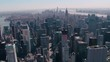 Aerial skyline view of Lower and Midtown Manhattan.
