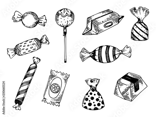 Candies engraving vector illustration