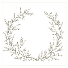 Wreath Of Twigs And Leaves Vec...