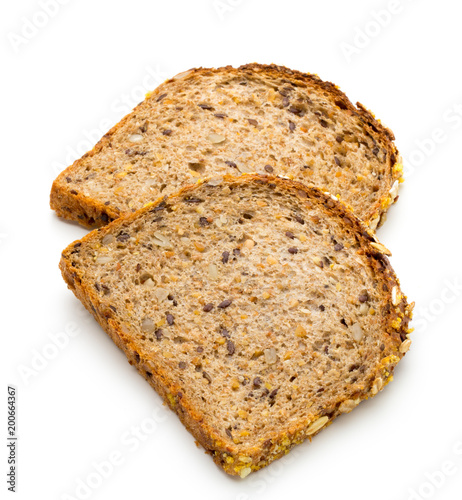 Foto op Canvas Los Angeles Whole wheat bread isolated on white background.