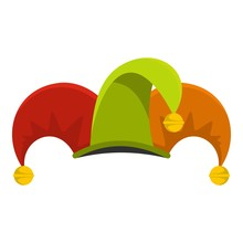 Circus Jester Icon. Flat Illustration Of Circus Jester Vector Icon For Web