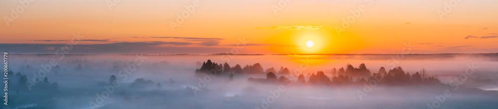 Fototapety, obrazy: Amazing Sunrise Over Misty Landscape. Scenic View Of Foggy Morning