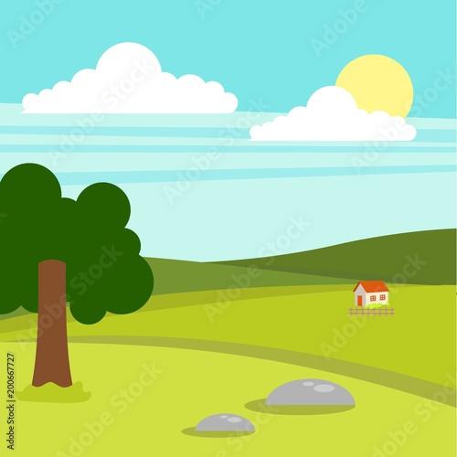 Spoed Foto op Canvas Turkoois Sunny day landscape illustration