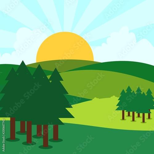 Tuinposter Lichtblauw Sunny day landscape illustration