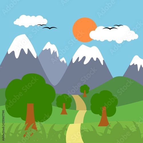 Deurstickers Groene Sunny day landscape illustration