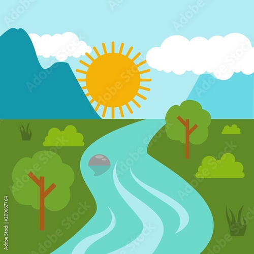 Foto op Canvas Groene koraal Sunny day landscape illustration