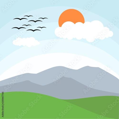 Fotobehang Lichtblauw Sunny day landscape illustration