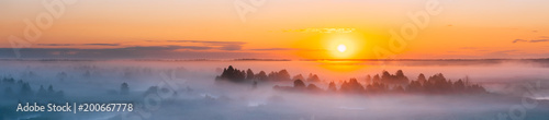 Spoed Foto op Canvas Zonsondergang Amazing Sunrise Over Misty Landscape. Scenic View Of Foggy Morning