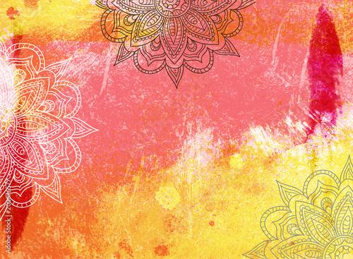 Photo  Mandala Grunge Background in Yellow Orange Red