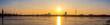 sunset on the coast in Hamburg, Germany, TV tower, panorama of Hamburg