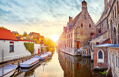 Wall Murals Bridges Bruges, Belgium. Medieval ancient houses made of old bricks