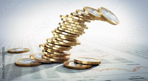 Fotografía  Kippender Stapel von Euromünzen im Closeup