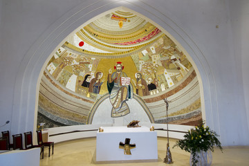 Czestochowa, Poland, April 8, 2018: Mosaic in the sanctuary of God's mercy in the Divine Mercy Valley