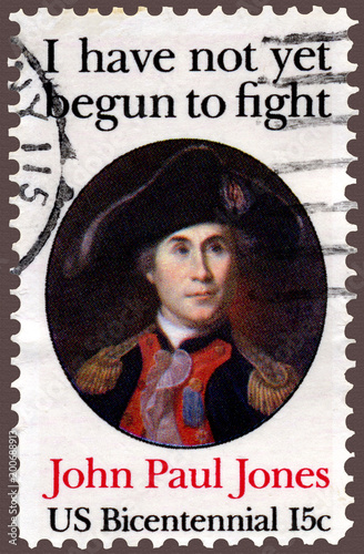 Photo John Paul Jones Naval Hero Quote Postage Stamp