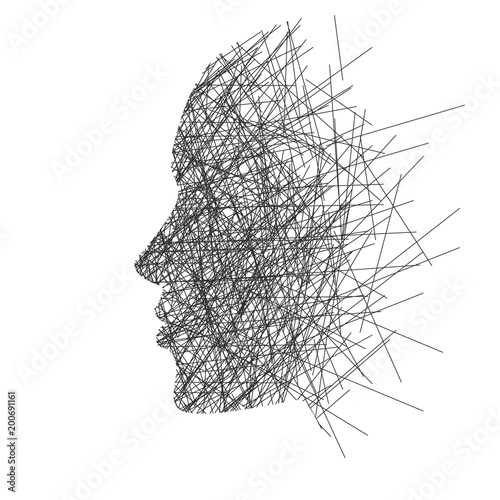 Stylized face in profile, concept: thoughts, stress or creativity Wall mural