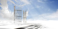 Gates Of Heaven Concept Wrapped In Wings And Ornaments Over Raised Stair (version 2 - Light Atmosphere) - 3d High Resolution Rendering.