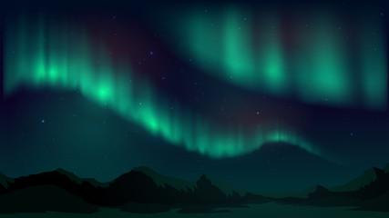 Ilustracja wektorowa z zorza polarna, północna noc gwiaździsta