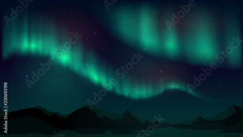 Vector illustration with aurora borealis, northern starry night