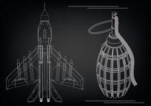 3d Model Of A Fighter And A Grenade