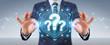 Businessman using question marks digital interface 3D rendering