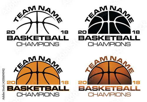 Photo Basketball Champions Designs With Team Name is an illustration of a four versions of a basketball design that can be used for t-shirts, flyers, ads or anything else you use to promote your team