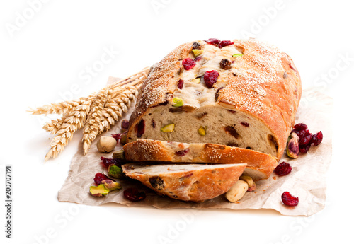 Homemade  mixed fruit and nut white bread isolated