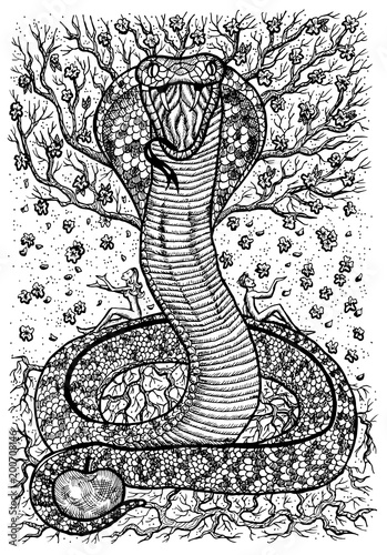 Snake Symbol With Eve Adam Tree Of Knowledge And Flowers Fantasy