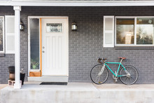 Turquoise Bicycle Or Bike On Front Porch